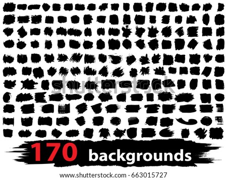 Vector very large collection or set of 170 artistic black paint or ink hand made creative brush stroke backgrounds isolated on white as grunge or grungy art, education abstract elements frame design #663015727