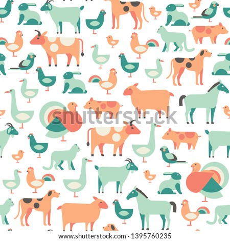 Vector veterinary pattern. Seamless background with farm animals and pets
