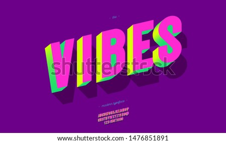 Vector vibes font 3d bold style