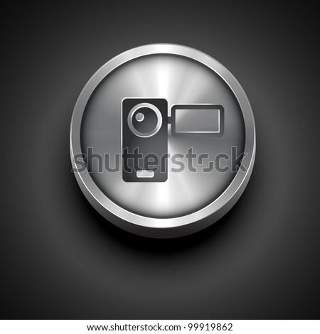 vector video camera metallic icon isolated on dark background