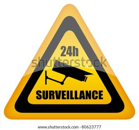 Vector video surveillance sign, eps10