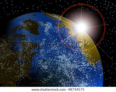Vector view of earth with sunrise in space with stars