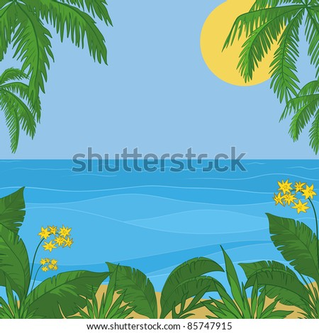 Vector, view of sea, sun and sky, frame of a tropical foliage and flowers