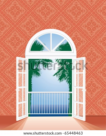 vector view on tropic sea from