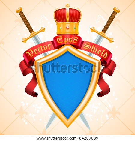 vector vintage background heraldic golden shield with ribbon banner, crown, swords