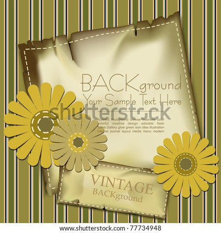 vector vintage background with congratulatory flowers and stripes