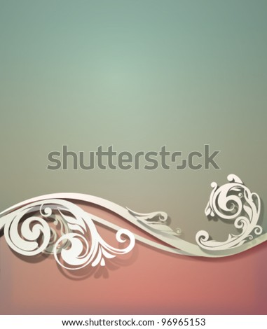 Vector vintage background with swirling floral border and soft shadows which are pure vector - stock vector