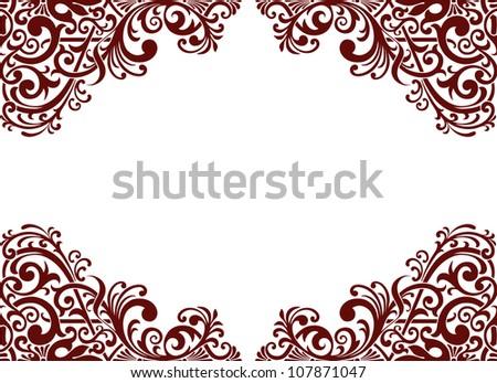 Flower Garland on Border Frame Card Background Flower Motif Arabic Retro Pattern Ornate
