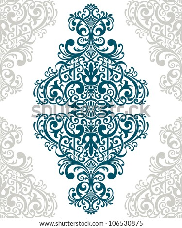 Vector vintage baroque border frame card cover flower motif arabic retro pattern ornate lace
