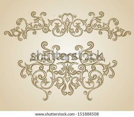 Vector vintage baroque engraving floral scroll filigree design