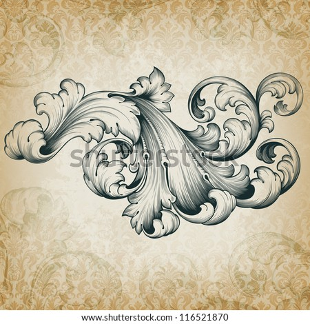 Vector vintage baroque engraving floral scroll filigree design frame border acanthus pattern element at retro grunge damask background