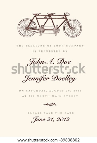 Vector Vintage Bicycle Wedding Invitation All pieces are separate and easy to edit.