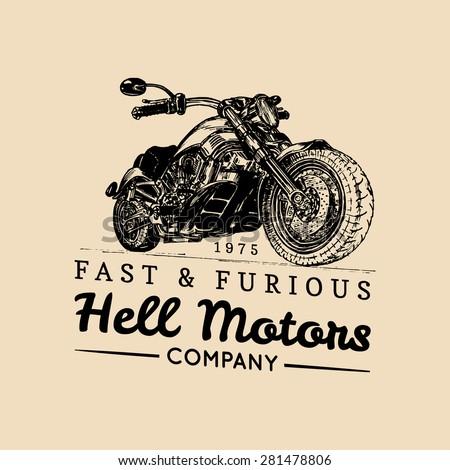 vector vintage biker logo with