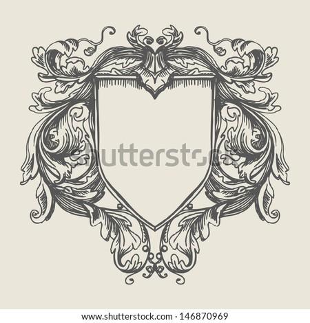 Vector vintage border frame engraving with retro ornament pattern in antique baroque style decorative design. Elegant baroque ornate. Curves engraving frames. Coat of Arms