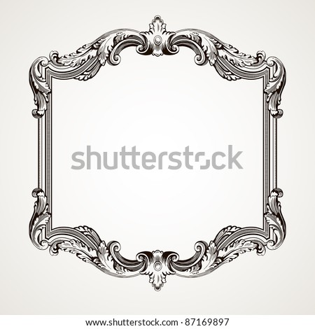Vintage on Vector Vintage Border Frame Engraving With Retro Ornament Pattern In
