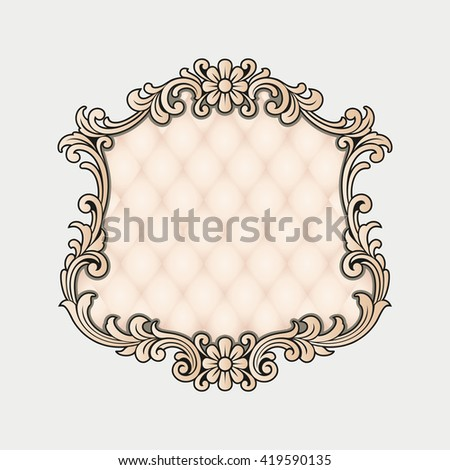 Vector vintage border frame engraving with retro ornament Vector