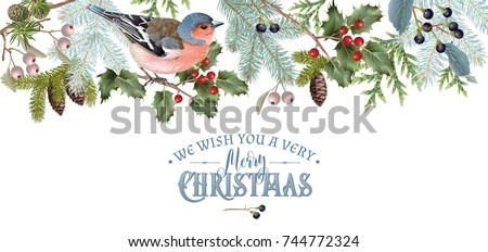Vector vintage border with winter forest branches and bird. Highly detailed winter design for Christmas greeting card, party invitation, holiday sales. Can be used for poster, web page, packaging