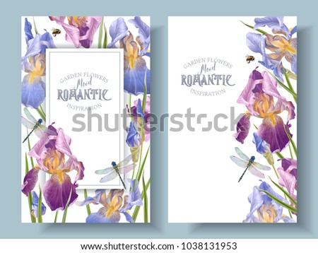 Vector vintage botanical banners with iris flower and dragonfly on white. Floral design for natural cosmetics, perfume,women products. Can be used as greeting card,wedding invitation,summer background