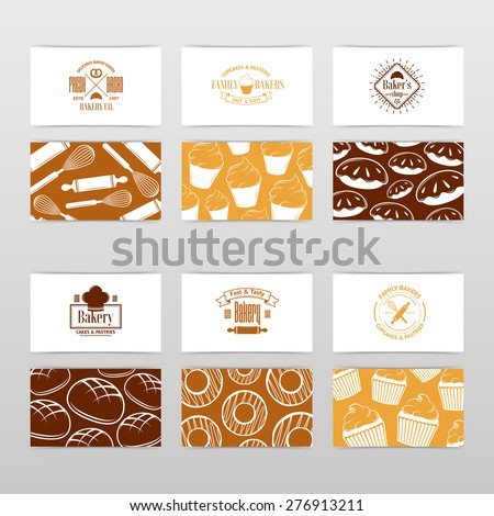 Vector vintage Business card Design Template with tasty cakes, pancakes, bread, pastry and etc.