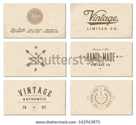 Vintage graphic design business card vector download vetores e vector vintage business card set reheart Gallery