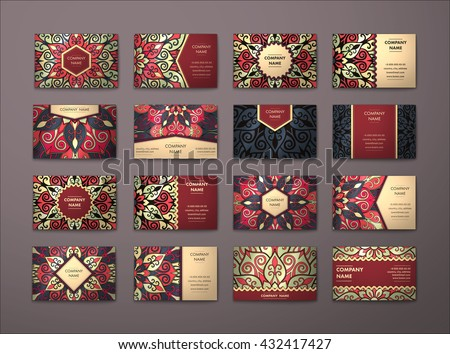 Vintage graphic design business card vector download vetores e vector vintage business cards big set floral mandala pattern and ornaments oriental design layout reheart Choice Image