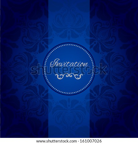 vector vintage card with damask