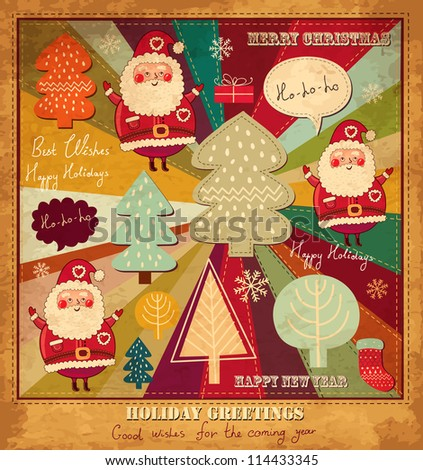 Vector vintage Christmas and New Year card
