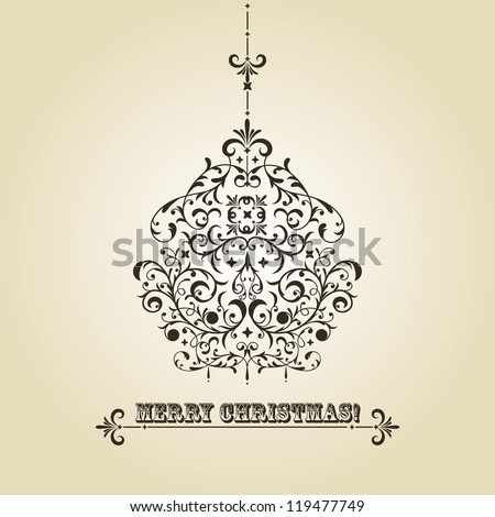 vector vintage Christmas greeting card with highly detailed fir tree ball on gradient background, fully editable eps 8 file, standart AI font