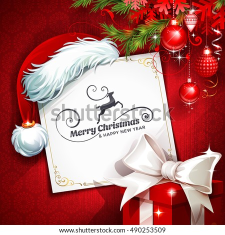 Stock Photo Vector vintage Christmas greeting card with Santa Claus Hat, ornaments, reindeer and present retro illustration. Calligraphic and typographic design elements.