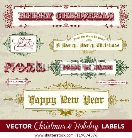 Vector Vintage Christmas Label Set. Easy to edit. Perfect for tags and labels.