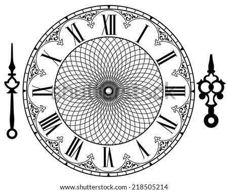vector vintage clock on white . ...