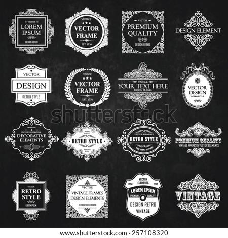 Vector vintage collection: Baroque and antique frames, labels, emblems and ornamental design elements on a chalkboard background