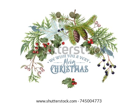 Stock Photo Vector vintage composition with winter forest branches. Highly detailed winter design for Christmas greeting card, party invitation, holiday sales. Can be used for poster, web page, packaging