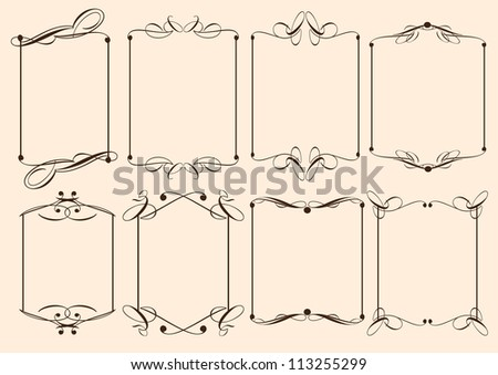 Vector vintage decorative design elements with decor, frames, etc.