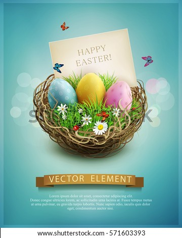 Vector vintage Easter eggs in a wicker nest, green grass and rectangular greeting card on a blue background