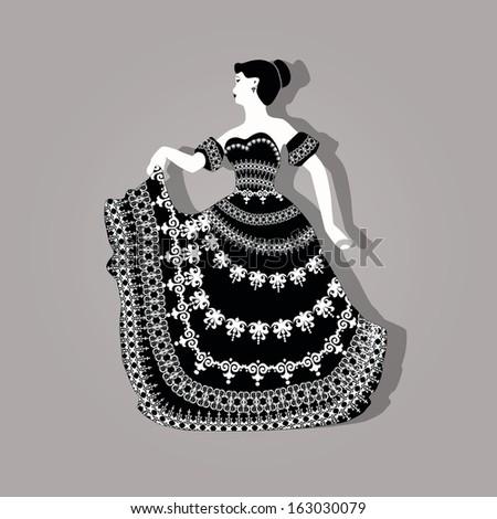 vector vintage elegant woman