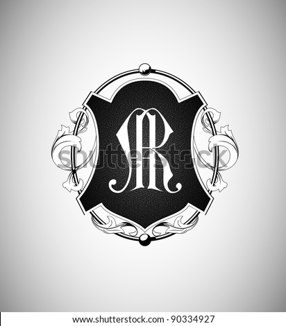 vector vintage emblem with monogram