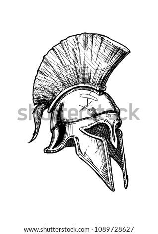 Vector vintage engraved illustration of Corinthian helmet â?? the most popular ancient Greek helmet. Isolated on white background.