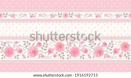 Vector vintage floral background, border. Seamless polka dot pattern with pink roses and laces. Shabby chic style Foto stock ©