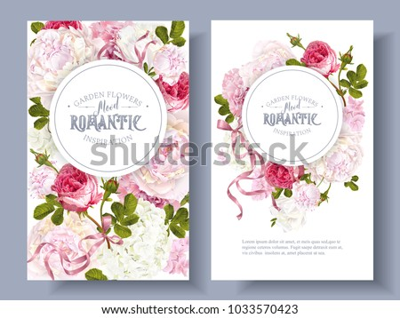 Vector vintage floral banners with peony, hydrangea, rose flowers and ribbon. Romantic design for natural cosmetics, perfume, women products. Can be used as greeting card. Best for wedding invitation #1033570423