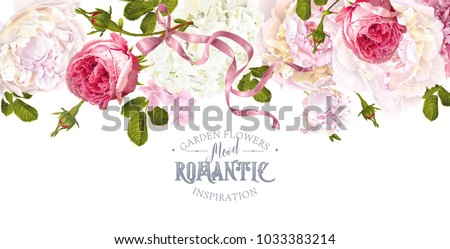 Stock Photo Vector vintage floral border with peony, hydrangea, rose flowers and ribbon. Romantic design for natural cosmetics, perfume, women products. Can be used as greeting card. Best for wedding invitation