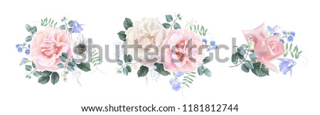 Vector vintage floral composition set with garden rose and sweet pea flower on white. Romantic design for natural cosmetics, perfume, women products. Can be used for greeting card, wedding invitation #1181812744