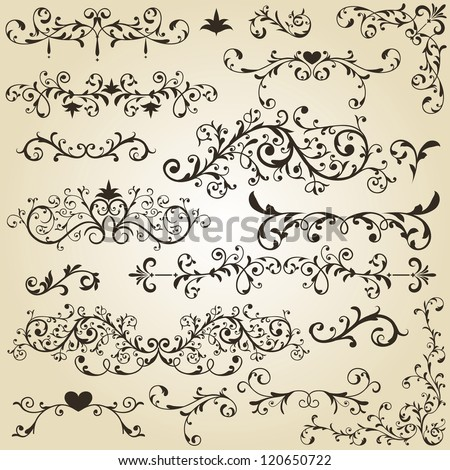 vector vintage floral  design elements on gradient background, fully editable eps 8 file - stock vector