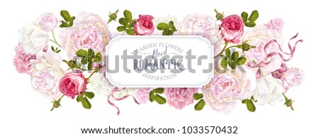 Vector vintage floral horizontal banner with peony, hydrangea, rose flower and ribbon. Romantic design for natural cosmetics, women products. Best for greeting card, wedding invitation, web banner