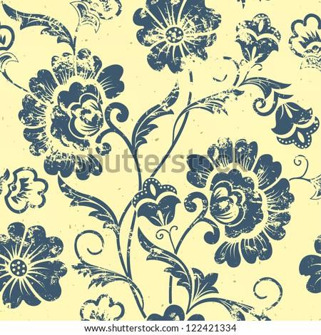 Vector vintage floral seamless pattern element. Grunge print style.
