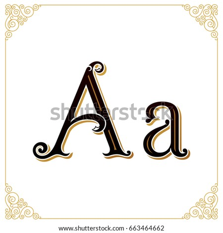 Vector Vintage Font. Letter A and monogram in the calligraphic style. Qualitative manual work for the logo. Alphabet in the Baroque style