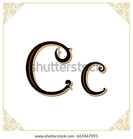Vector Vintage Font. Letter C and monogram in the calligraphic style. Qualitative manual work for the logo. Alphabet in the Baroque style