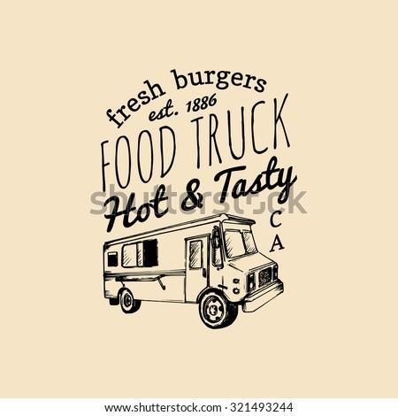 vector vintage food truck logo
