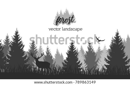 Vector vintage forest landscape with black and white silhouettes of trees and wild animals
