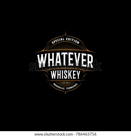 Vector vintage frame for logo, label design. Ornate logo template for tattoo, barber shop, beer, whiskey label. #786463756
